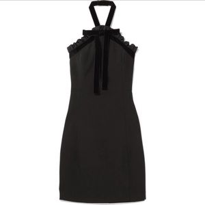 MICHAEL Kors Ruffled Velvet Trimmed Halter Dress
